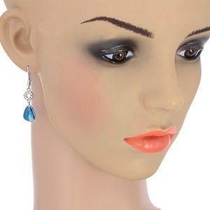 """Sterling Silver 1-1/2""""  Blue Topaz & CZ Earrings"""